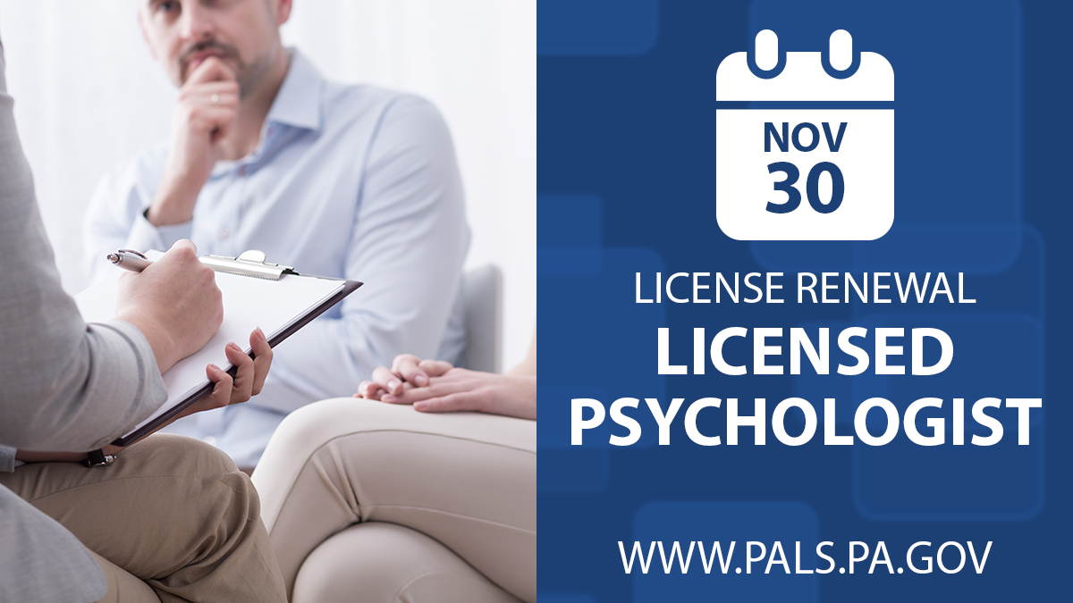 Licensed Psychologist renew by Novermber 30