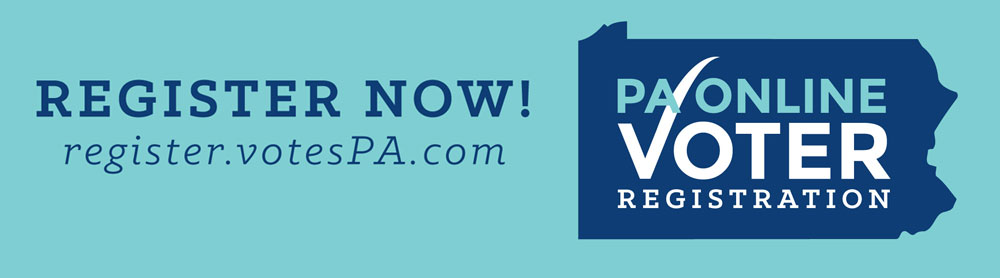 PA Online Voter Registration Logo with text: Register Now
